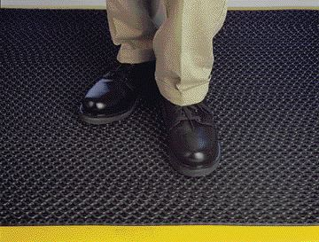 Anti-fatigue matting, popular in workplaces ranging from manufacturing plants to reception counters, for example, helps reduce foot fatigue and keep blood circulating.