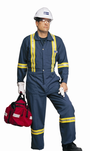 Coveralls with FR retro reflective stripes