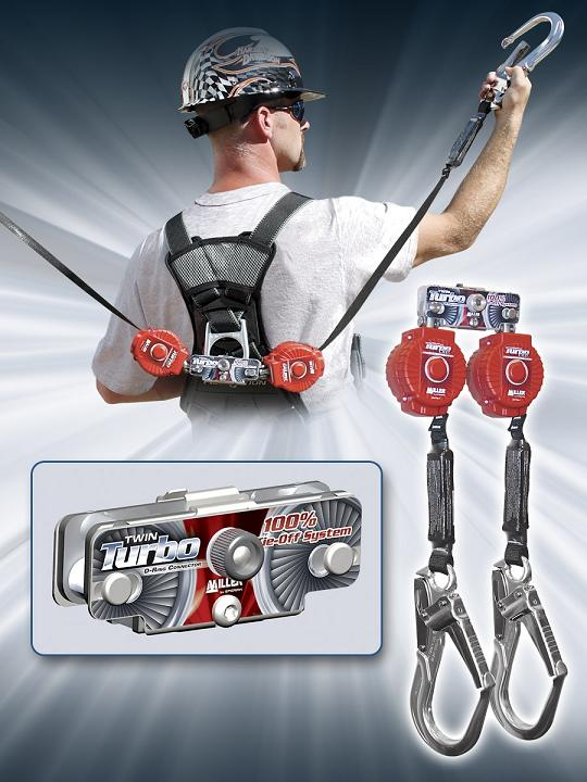 The Miller Twin Turbo Fall Protection System incorporates an innovative mounting bracket design with two (2) TurboLite Personal Fall Limiters (or self-retracting lifelines) for 100% tie-off