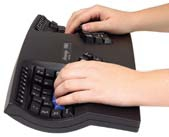 Above: Separated keyboards and foot switches are helpful ergonomic tools in the office.