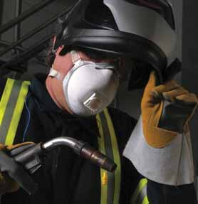 Particulate respirators protect against metal fumes in welding.