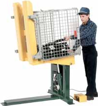 A lifting container tilter is used to position small loads.