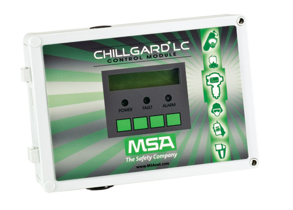 The Chillgard LC Control Module is a microprocessor-based controller that can accept input from up to eight MSA Chillgard LS Refrigerant Monitor sensor modules.