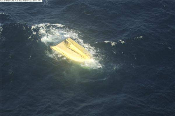 The hull of the Miss Ally was spotted early in the search, but poor weather conditions prevented crews from reaching it. Photo courtesy the Department of National Defence.