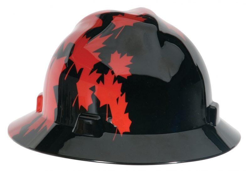 Black with Red Canadian Maple Leaf Full Brim